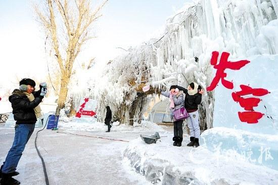哈尔冰中央大街,冰雕美轮美奂