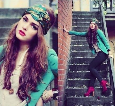 春意盎然的绿色头巾
