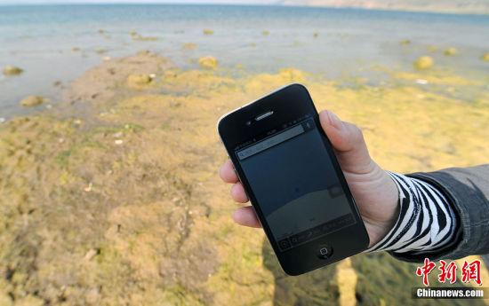 2月28日,位于云南省玉溪市江川县的抚仙湖因连年干旱使其水位下降1.8米 。抚仙湖是中国最大的深水型淡水湖泊。湖面积216.6平方公里,湖容积为 206.2亿立方米。据当地监测部门介绍,现在湖容积仅为188.6亿立方米。而 且库容正以每天0.5厘米的速度下降,以每天136万立方米的速度被蒸发,这 个蒸发量相当于周边工业和生活生产一年的用水量。图为在抚仙湖边用手机 定位显示所站的位置原先是被湖水覆盖的。中新社发 任东 摄