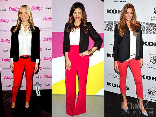 黑外套+白衬衫+红色裤装