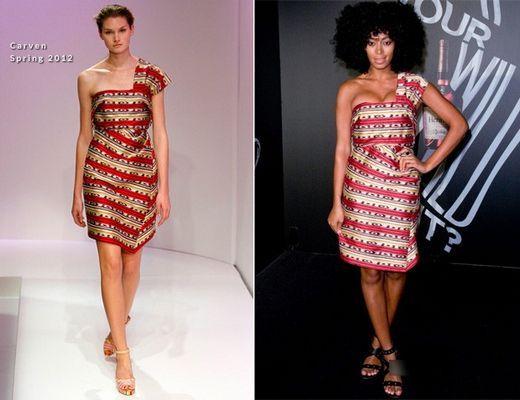 条纹图案的单肩连衣裙时尚个性