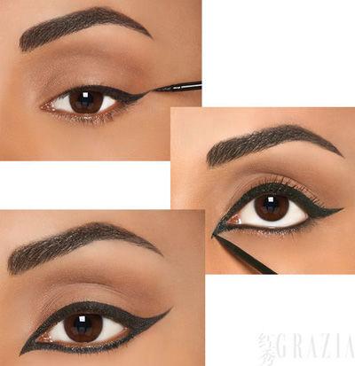 快来学习吧:   1,东方式眼线妆,这款眼妆比较个性,全封闭是眼线,眼角