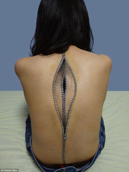 日女大学生创作恐怖人体彩绘艺术