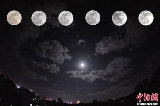 图为年11月28日,海南琼海上空的月亮(拼图)。中新社发 蒙钟德 摄 图片来源:CNSPHOTO