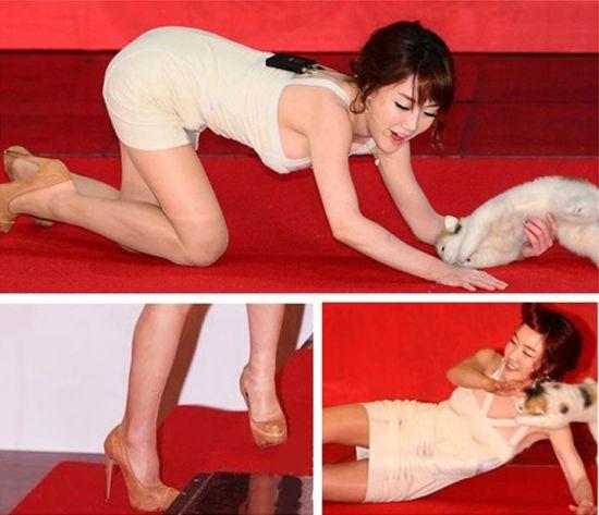 韩国红毯爆点多女星着装大胆惹尴尬(图)