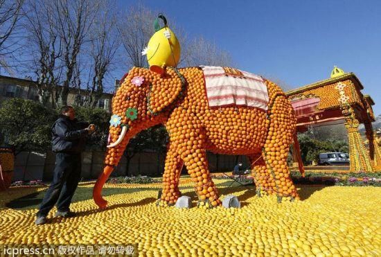 法国芒通柠檬节水果雕塑造型百变