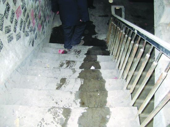 石家庄小区住户阳台私自改厕所 污水流一楼道