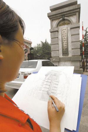 河北经贸大学生手绘校园风景明信片致青春