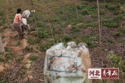 村民用胶桶运水