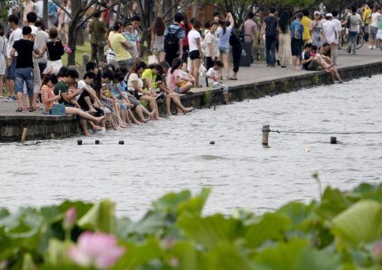 """杭州西湖成了游客的""""洗腳池""""真是大煞風景"""