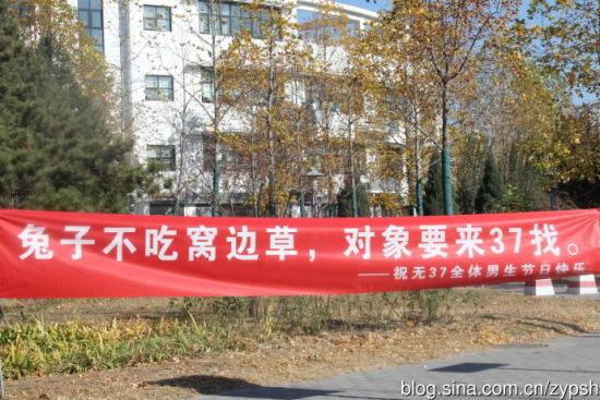 清华大学男生节条幅标语太有才 热点词汇都用上 新浪河北教育图片