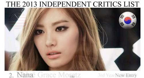 韩国女星nana荣登第二