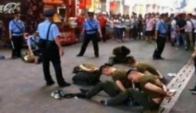 广州闹市发生斗殴 警察鸣枪制止