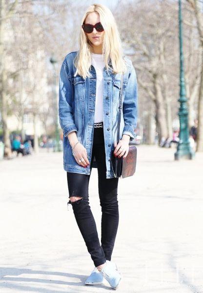 牛仔夹克+黑色紧身裤2