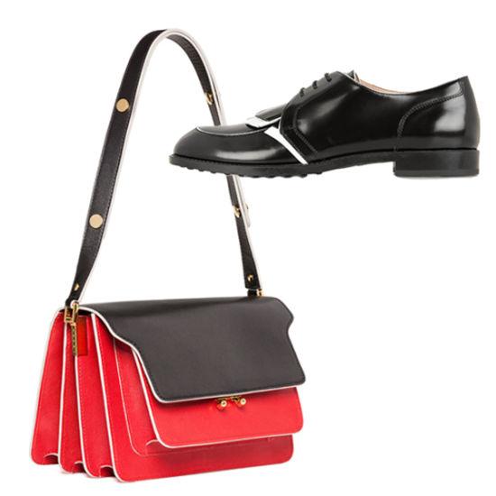 帅气黑皮鞋与层叠挎包