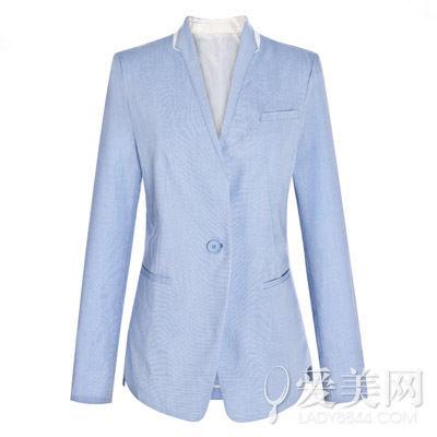 太平鸟 复古风修身纯色翻袖小西装
