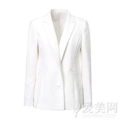 伊芙丽 白色一粒扣小西装外套