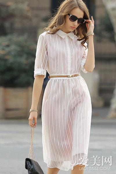 中长款条纹衬衫裙