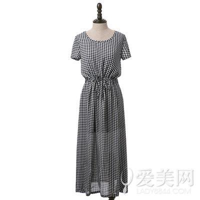 文艺腔调复古格子韩国绒雪纺长裙