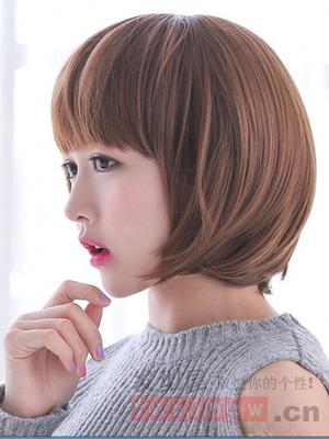棕色的发色 搭配齐刘海