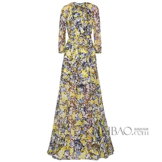 艾尔丹姆(Erdem)水墨印染长袖碎花连衣裙