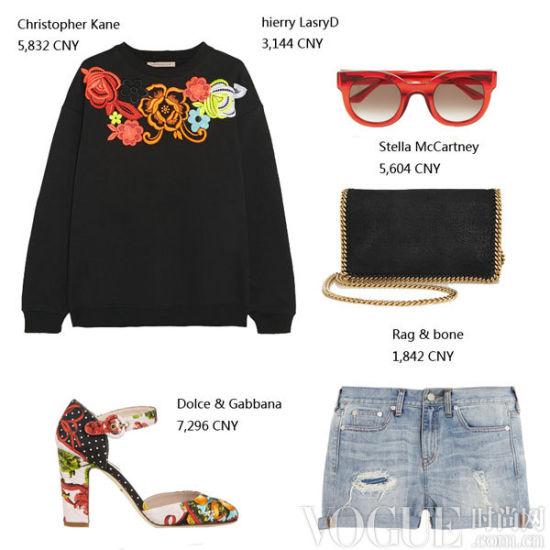 短裤+时髦卫衣等单品