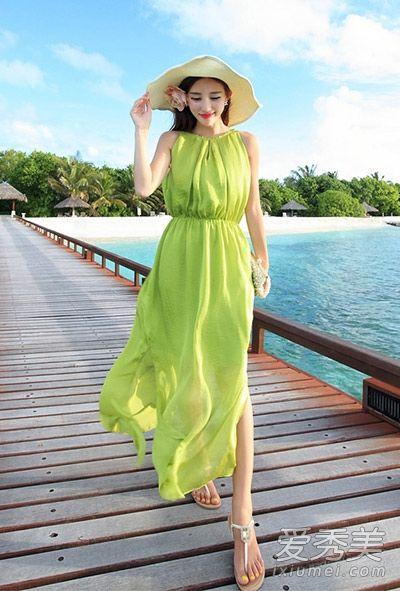 脆绿色波西米亚风格长裙清新脱俗
