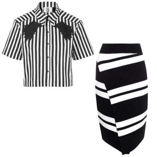 条纹短袖衫+条纹半裙