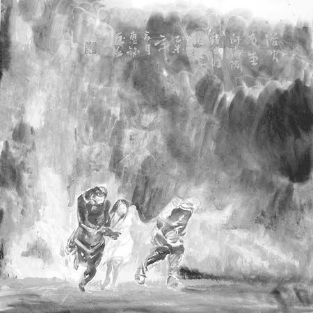 衡水市画家乔惠铭连夜创作组画记录天津8·12爆炸事故救援场面。《浴火重生》