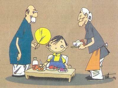 温暖外婆的卡通图片