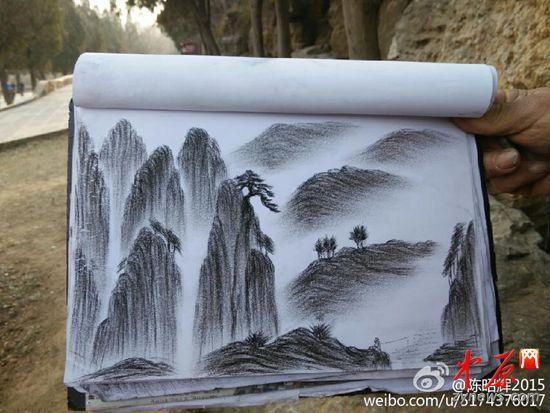 少林寺环卫工自学手绘嵩山 被赞现代版扫地僧